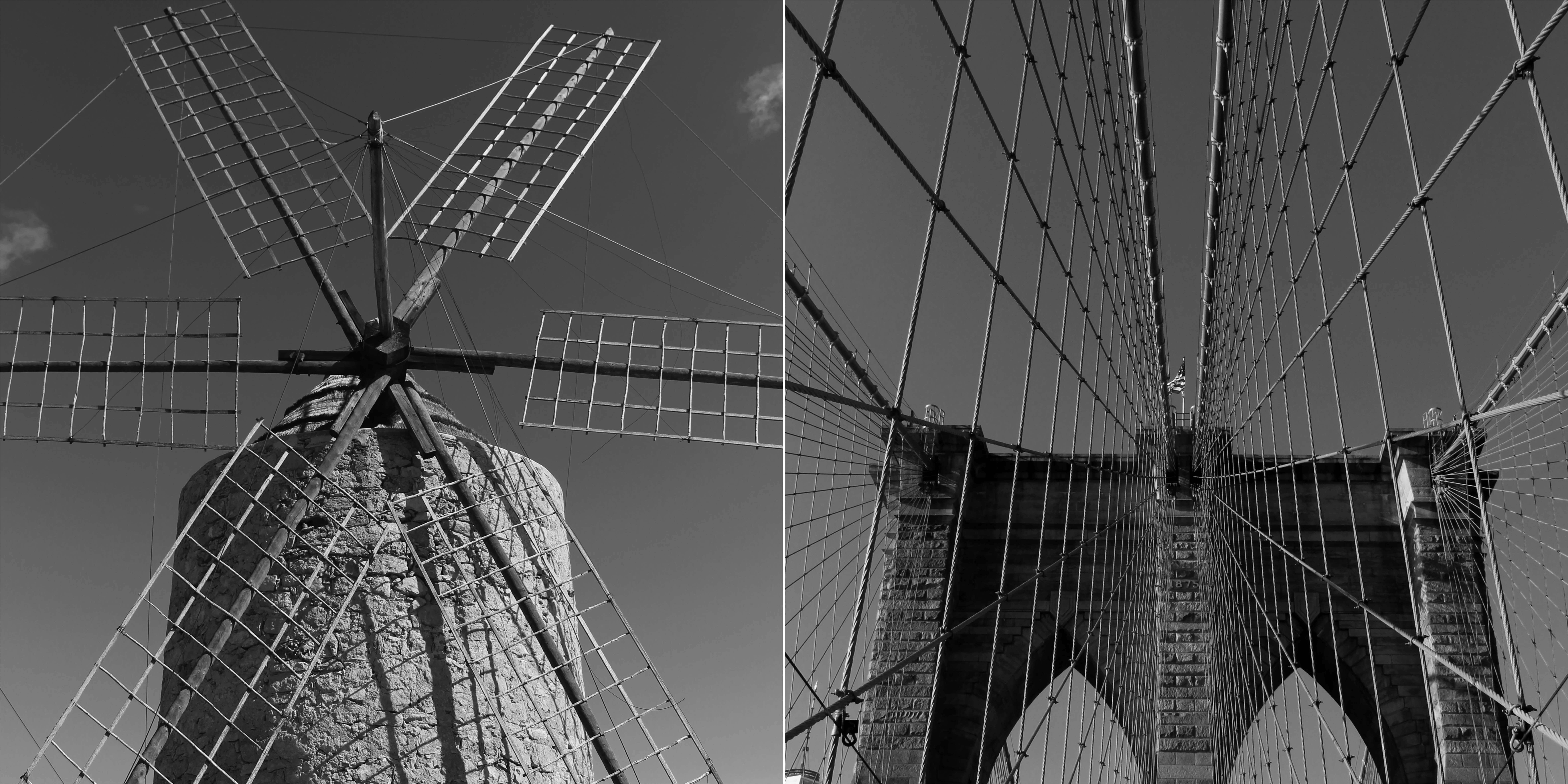 Brooklino Artwork, comparing a Formentera windmill and New York Brooklyn Bridge in Manhattan as part of the Formenhattan exhibition