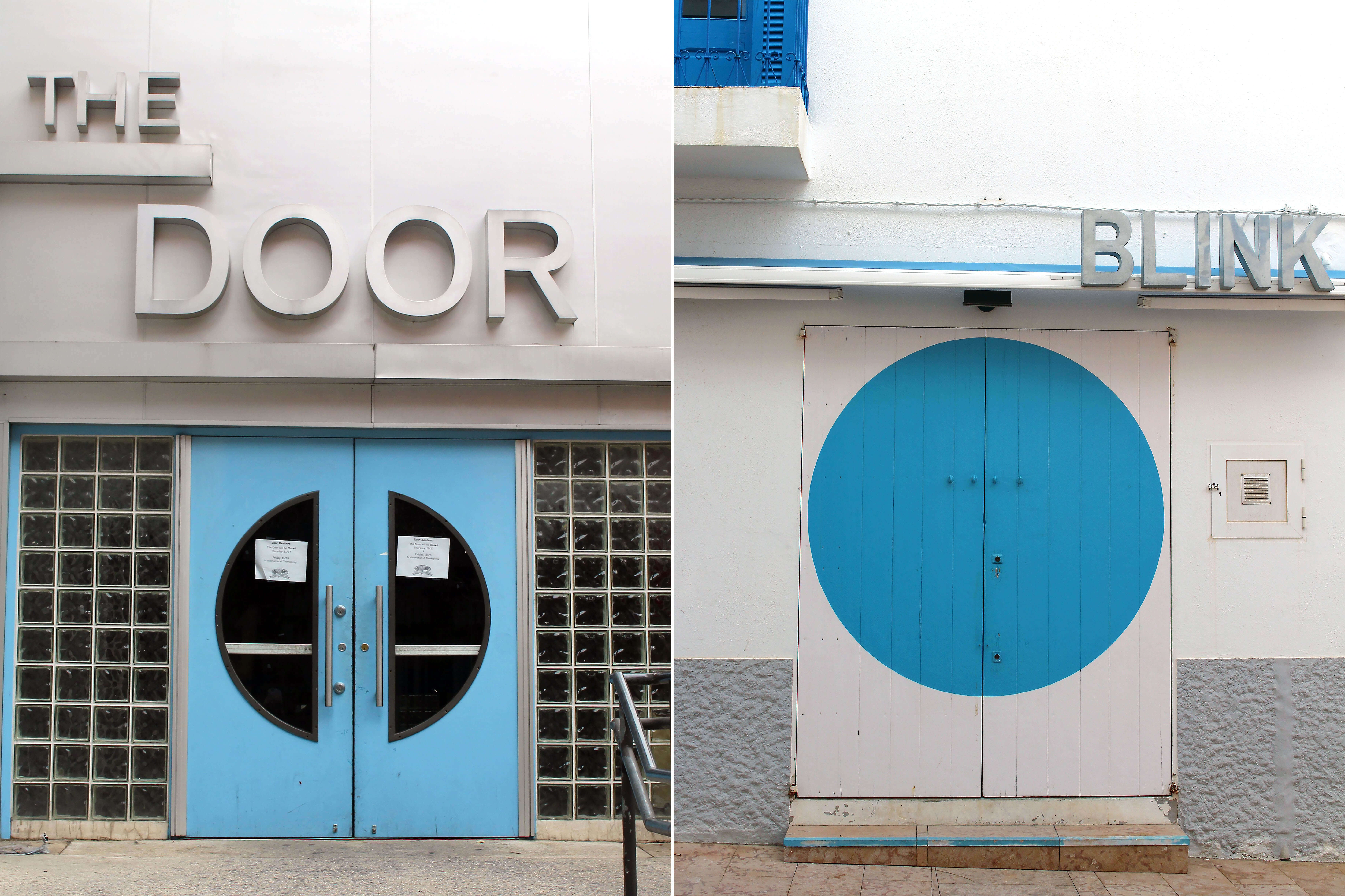 Thedoors artwork comparing a blue door with circular elements (from The Door in Manhattan, New York) and the door of the Blink shop in Formentera, also with blue and circular elements. Forming part of the Formenhattan exhibition.